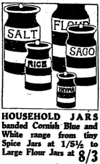 Cornish blue storage jars in ad