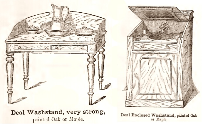 Washstand with pitcher or faucet