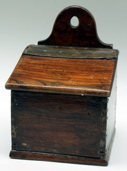 Hanging salt box, wood, Victorian