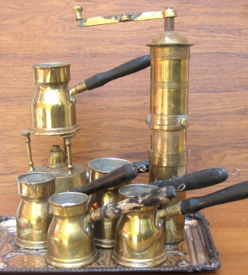 Ibrik, cezve, rakwa set with coffee-grinder