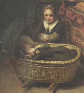 Child rocking baby in wicker cradle