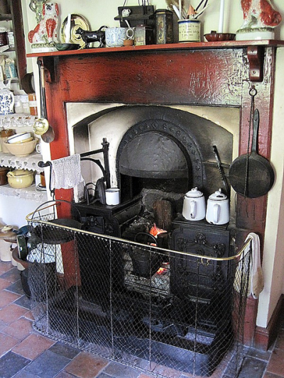 kitchen fireplace and mantelpiece