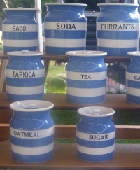 Cornishware storage jars