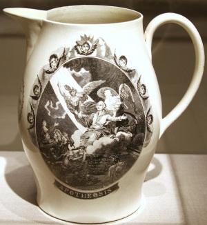 American creamware transfer print jug